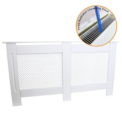 Couvercle de radiateur en Bois MDF Peint Blanc Treillis Grill Moderne de Chauffage de Meubles de Maison étagère 1515 mm