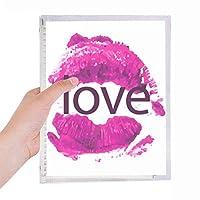 バレンタインデーのピンクの唇が好きです 硬質プラスチックルーズリーフノートノート