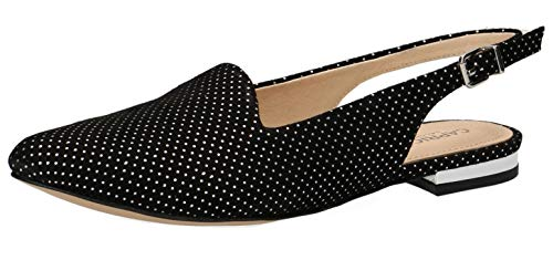 CAPRICE 29400-22 Damen Slingpumps,Slingback Pumps,Leder,modisch,Fashion,(21) Black DOTS SUE,38 EU