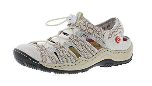 Rieker L0577 Damen Slipper,Schlüpfschuh,Slip-on,modisch,Freizeitschuh,white-silver/weiss/80,37 EU / 4 UK