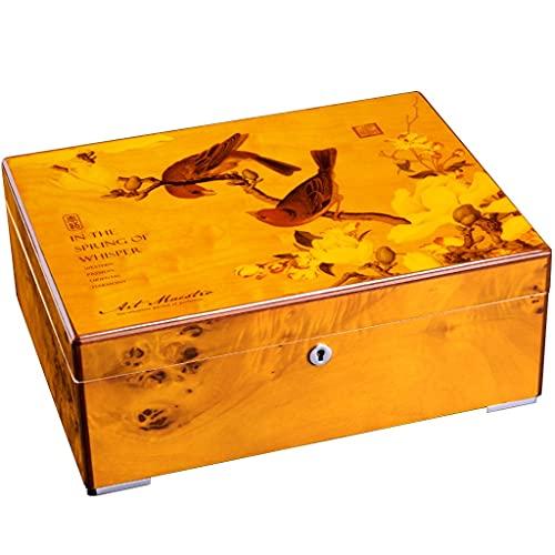 Caja humidificadora de Puros Vintage, Caja de Almacenamiento de Cedro Hecha a Mano de 2 Niveles con higrómetro humidificador, contenedor de Puros para 35-50 Puros