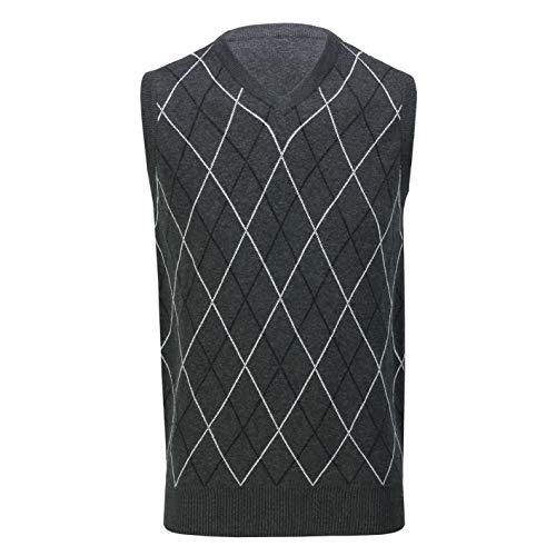 Jersey de golf Argyle sin mangas con cuello en V