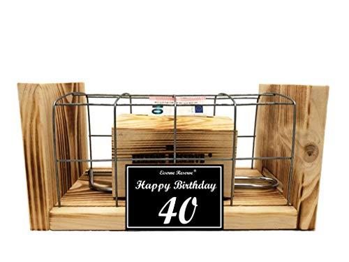 Happy Birthday 40 Geburtstag - Eiserne Reserve - Geldbox hinter Gitter - Geldgeschenk - Geld verschenken - 40 Geburtstag Geschenk Idee für Männer & Frauen Geschenke zum 40 Geburtstag