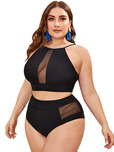 Romwe Women's Plus Size 2 Piece Bikini Swimsuit Mesh Front High Waist Bathing Suit Black 3XL