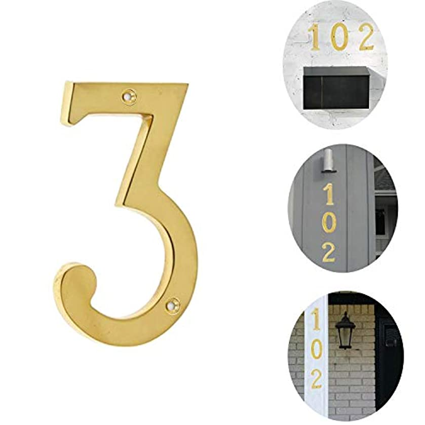 Bebarley 4 Inch Premium Bright Solid Brass Door House Numbers and Street Address Plaques Numbers for Residence and Mailbox Signs. (Number 3)