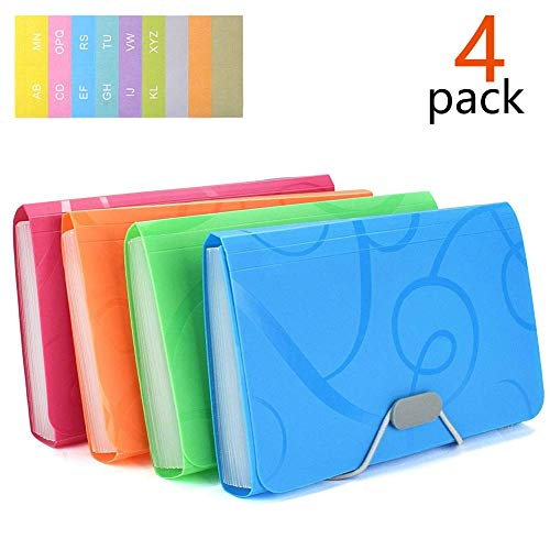 4 Pcs/Pack Expanding File Folder7 x 4 Inches, 13 Pocket Document File Folder with Tabs and Bungee Closure - Mini PP Wallet Organizer for Receipts, Coupons, Checks, Cards, Tax Item or Changes