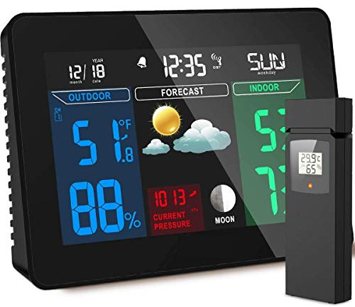 Xyfw Estación Meteorológica Inalámbrica con Radio Reloj Y Sensor Exterior, Color De...