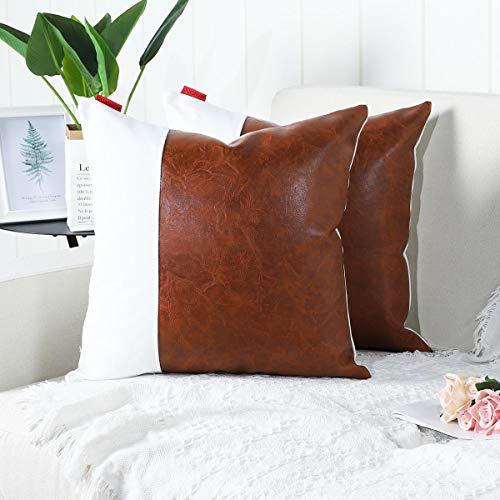Mandioo Confezione da 2 lussuose Fodere per Cuscini Decorativi in Ecopelle e Cotone Set Federe per Cuscini Federe per Divano Divano Camera da Letto Auto 18x18 Inches Marrone e Bianco