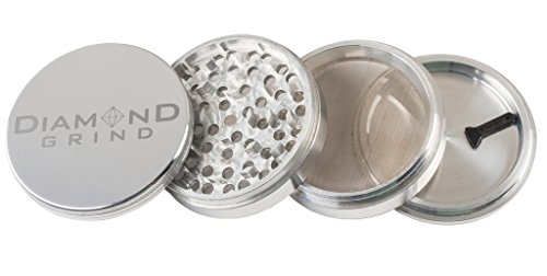 """Diamond Grind 4 Piece Aluminum Herb Grinder with screen 90mm (3.50"""") SILVER"""