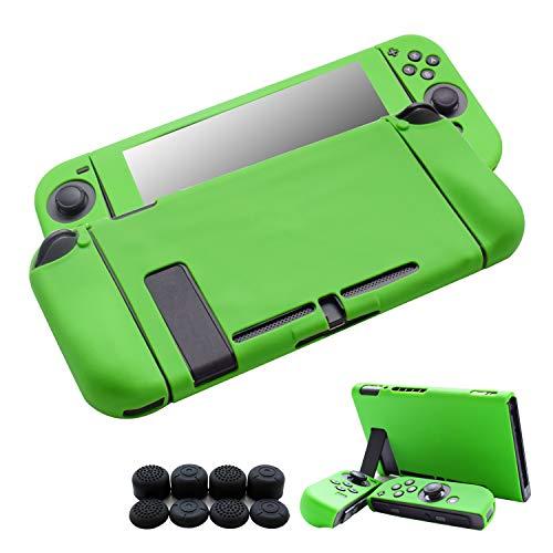 Hikfly Gel di Silicone Grip Antisdrucciolevole Coprire i Kit di Protezione Protezioni della pelle per Nintendo Switch Console e Joy-Con Controller con 8pcs Gel di Silicone Thumb grips Tappi (Verde)