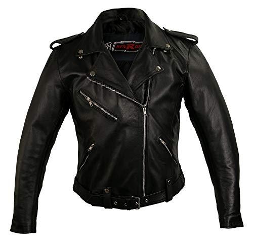 Zerimar KENROD Chaqueta de moto| Chaqueta mujer 100% cuero | calidad Color negro Talla XL