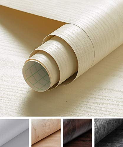 Oxdigi Cream White Wood Grain Contact Paper 24 x 196 Decorative for Shelf Liners Cabinets Shelves product image