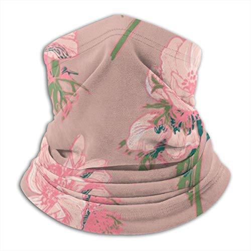 Ewtretr Pink Blumenmuster Winter Fleece Hals Gamasche Halswärmer Gesichtsmaske Outdoor