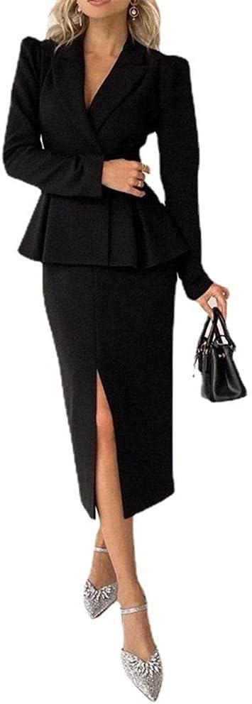 Office Slim Fit Pencil Dress for Women Long Sleeve V Neck Work Solid Formal Business Elegant Bodycon Dress-Black_XL
