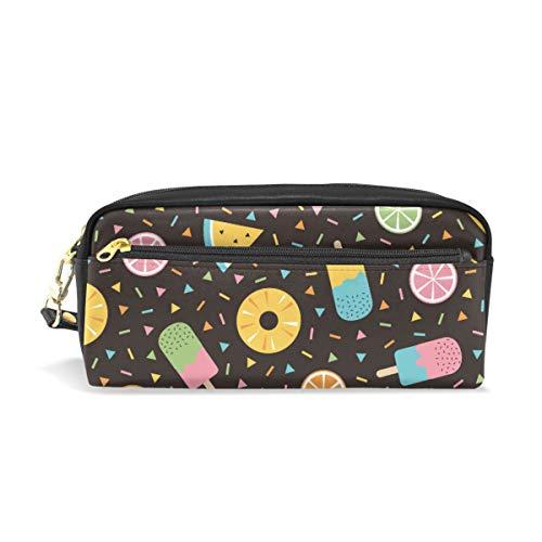 Étui à stylo Stationnaire Fruits Crème Glacée Symboles D'été Crayon Sacs Pochette Portable pour Enfants Scolaires Sac Cosmétique Maquillage Maquillage Beauté