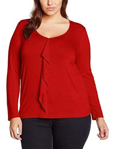 Samoon Frill Front Jersey Camiseta, Rojo, ES 46 (UK 18) para Mujer