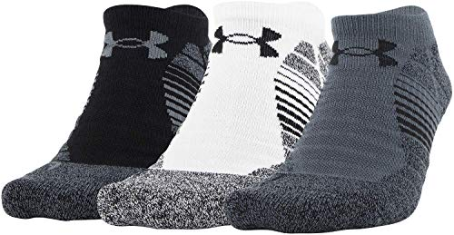 Under Armour Adult Elevated Performance No Show Socks, 3-Pairs , Pitch Gray Assorted , Large