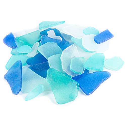 Sea Glass | Large Cobalt Blue Aqua and Frosted White Sea Glass Mix 2