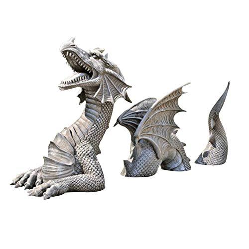 Adornos de estatuas de jardín de dragón, estatua de jardín de césped de foso de castillo de dragón de Falkenberg, estatua de decoración de jardín gótica de dragón grande,cola