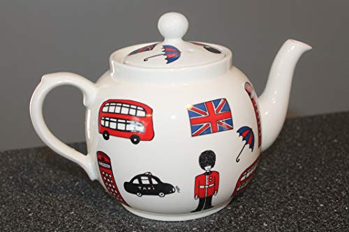 """Price and Kensington""""City Sight"""" made in England TEAPOT 6"""" ~ Great graphics of a British policeman or Queens guard, double decker bus, telephone booth, taxi, umbrella and British flag."""