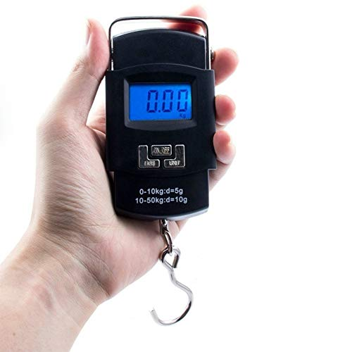 Ruixf Elektronische Waagen für das Angeln, tragbare Gepäckwaagen Angelhaken Waage mit LCD Anzeige, Tare, Einheitenumrechnung, Gewichtsmessung für Zuhause, 50 kg