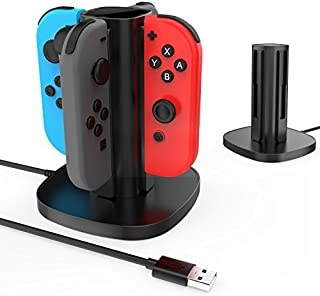 Centeni Nintendo Switch Joy-Con充電スタンド 急速充電スタンド 4台同時充電可能 充電指示ランプ付き USBケーブル内蔵 (ブラック)