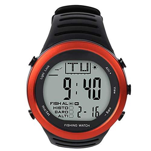 Keenso FR720B - Reloj de presión de aire de pescado, multifunción, resistente al agua, para exteriores, termómetro de presión de aire, color naranja
