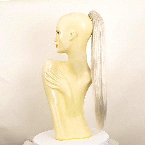 Postiche queue de cheval extension femme longue lisse blanche 65 cm ref 7 en 60