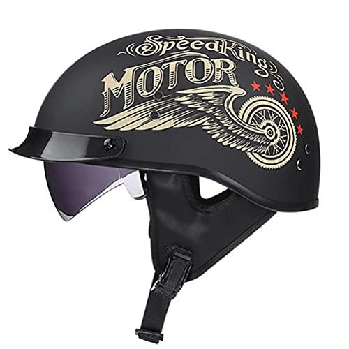 Motorcykel Halv Hjälm Med Solskydd Snabb Frisättning Band Halv Ansikte Vuxna Män Kvinnor Öppna Ansikte Motorcykel Cruiser Scooter Moped Cykel D.o.t Certifierad (Color : F, Size : L)