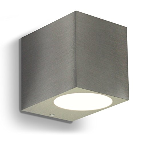LED Wandleuchte Wandlampe Außenleuchte Up Down 1-Flammig Aluminium Edelstahl geb. Form:J IP44 GU10-230V (Warmweiß)