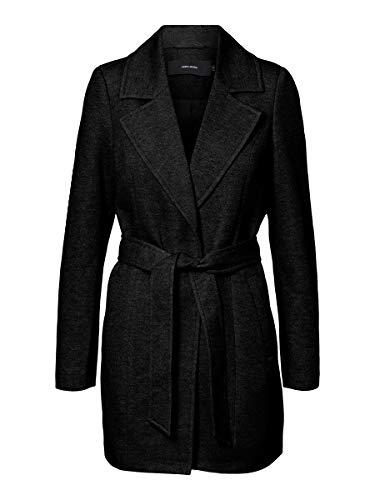 Vero Moda Vmverodona Trenchcoat Noos Abrigo de Mezcla de Lana, Black/Schwarz, XL para Mujer
