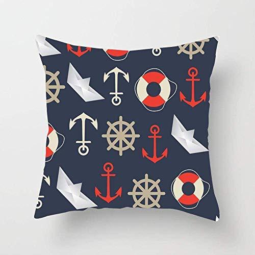 U/K Blue Anchor Pattern Abstract Sailor Sail Texture Travel Navy Ship Boat Cruise Lifeline Ocean Soft Cotton Pillowcase Home Decor Throw Pillow Cover for Living Room