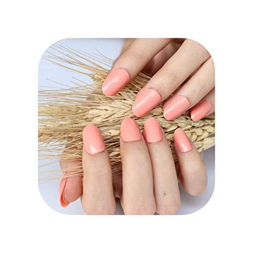 2020 24pcs heißes neues Design schöne zarte ovale Süßigkeiten süße künstliche Nägel Orange N328 X.-1pcs-