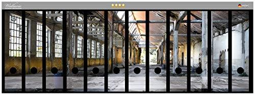 Wallario Ordnerrücken Sticker Alte Industriehalle, leerstehend und einsam in Premiumqualität - Größe 72 x 30 cm, passend für 12 breite Ordnerrücken