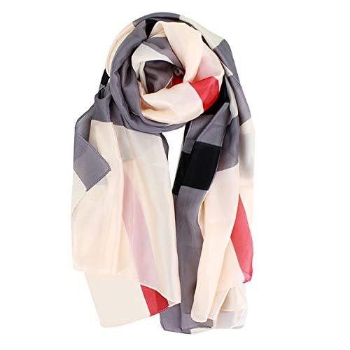 Van Caro Womens Silk Spring Scarf Fashion Shawls Wraps for Hair amp Neck Grey