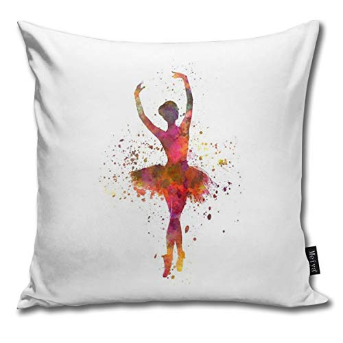 Throw Pillow Cover Case for Bedroom bank bank Home Decor Vintage Woman Ballerina Ballet Dancer Dancing Pattern Square 18x18 inch 45x45 cm