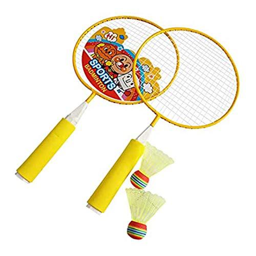 YXMG Conjunto de badminton infantil - 1 par de raquetes de badminton e 2 petecas para meninos e meninas, brinquedo esportivo presente para uso interno e externo