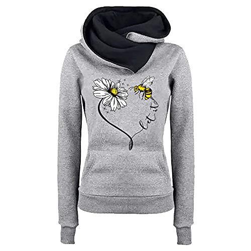 Xniral Damen Kapuzenpullover Rollkragenpulli Slim Fit Drucken Sweatshirt mit Tasche Langarm Hoodie Pullover Streetwear Oberteile(Grau,5XL)