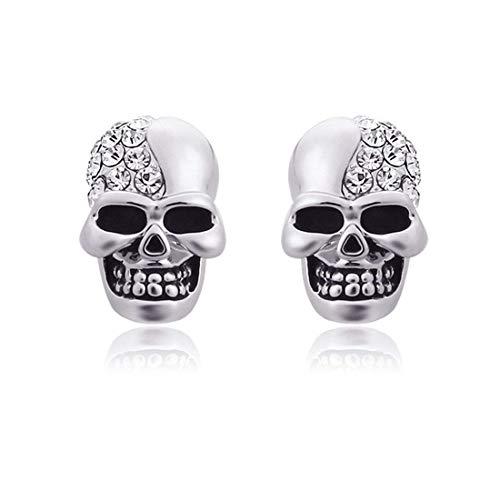 RONGW JKUNYU Brillantes Retro cráneo Completo de Diamantes Stud Pendientes de la Personalidad Hombres y Mujeres de Halloween Accesorios de Plata