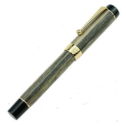 Jinhao 100 Series Füllfederhalter, mittelgroße Feder, graues Kunstharz, goldener Rand, mit Stiftetui