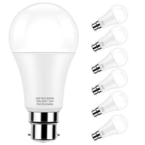 Ampoules LED B22, Globe led A60 15W(150W Équivalent Ampoule), Blanc froid 6000K, Angle du faisceau 360°, Pack de 6 By Pursnic