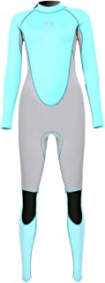 Micosuza Women Full Body Wetsuits Premium 3mm Neoprene UV Protection Back Zip Diving Snorkeling Surfing Swimming Fullsuit Jumpsuit