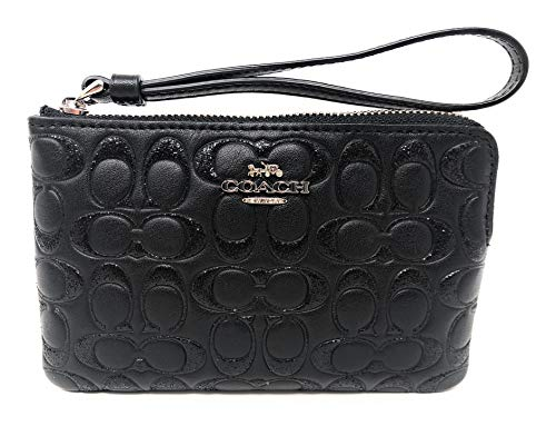 "Size Approximate Measurements: 6 1/4"" (L) x 4"" (H) x 1/2"" (W) Signature smooth leather, Color: Silver/ Black Two credit card slots