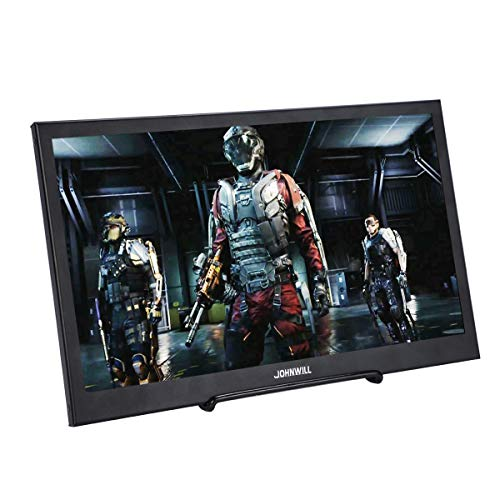 Gaming tragbarer Monitor 15,6 Zoll IPS-Bildschirm Full HD 1920 x 1080 Monitor tragbare ultradünne Schwarze Metallschale Eingebauter Lautsprecher, Kompatibel mit Laptop,PC Monitor,JOHNWILL