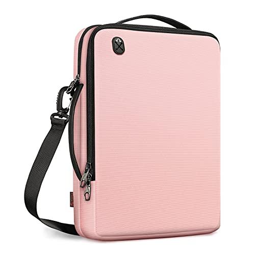 """FINPAC Umhängetasche Laptop Tasche für 13,3 Zoll MacBook Pro/MacBook Air M1, iPad Pro 12,9"""", Surface Pro X/7/6, Wasserabweisend Tragbar Laptoptasche Schultertasche Zubehör Organisator, Rosa"""