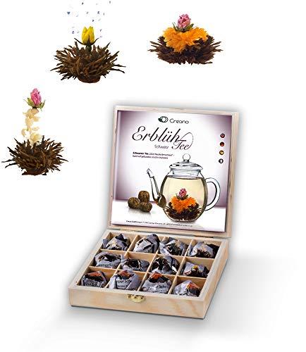 Creano Teeblumen Geschenkset in Holz-Präsentbox Schwarzer Tee 12 Erblühtee in 3 Sorten