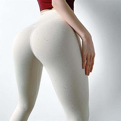 pantalones de yoga mujer leggins Nuevas lentejuelas glitter peach fitness pants medias de verano para mujer pantalones deportivos nalgas de cintura alta ropa de yoga summer thin style-milk white_S