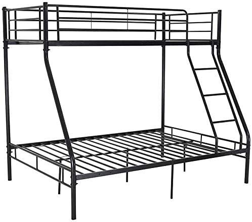 Ideal Metal Plate Frame Double Double Comfortable Sleeping Space for Three Small Houses,Black