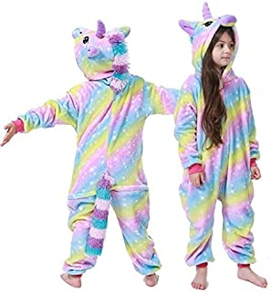 Pijama Unicornio Ropa de Noche del Unicornio Kigurumi Pijamas de los niños for Niños Niñas Bodies for niños Animal Invierno Nueva Franela Caliente Homewear 4-12T (Color : A, Size : 12T)