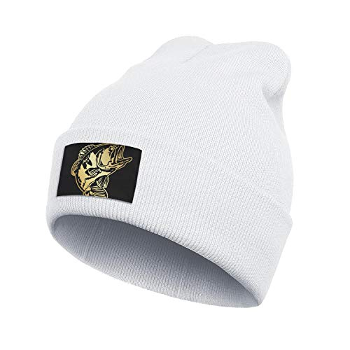 Unisex's Stay Warm Knit Caps Perfect for Snowboarding Bass-Pro-Shop-Fishing-Gold-Logo- Black Hat Knitting Beanie Cap.